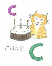 Blank greeting card Cats Alphabet C Cake Louisa's Ginger Nuts Peter Brighouse
