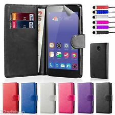 32nd Book Wallet PU Leather Flip Case Cover for ZTE Phones + Screen Protector