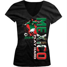 Mexico Play Hard World Cup 2014 Soccer Player Girls Junior V-Neck T-Shirt