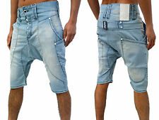Mens Drop Crotch Denim Humor Jeans Shorts Low Arc Stylish Casual Trendy Summer