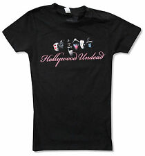"""HOLLYWOOD UNDEAD """"SCRIPT"""" BLACK BABY DOLL T-SHIRT NEW JUNIORS OFFICIAL BAND"""