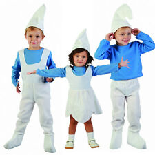 Girls Boys Kids Smurfs Fancy Dress Hat Blue White Smurfette Cartoon Play Age 2-4