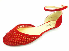 Ladies Anne Michelle Red Flat Shoes with Diamante Detail Style L4952
