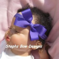 "3"" PURPLE DAINTY HAIR BOW SOFT & STRETCHY HEADBAND So CUTE On INFANT TODDLER"