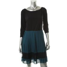 SL Fashions Black Teal Colorblock 3/4 Sleeves Boatneck Pleated Casual Dress NEW