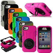 Hybrid Rugged Impact Rubber Matte Hard Cover Case Built in Film For iPhone 4 4S