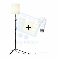 IKEA TROGSTA Black metal adjustable floor lamp & white shade w/wo bulb