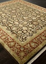 AR09 Aurora Jaipur Rug brown red knotted India Silk wool 6x9 8x10 9x12 10x14 GM