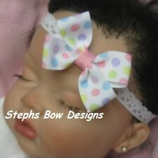 PASTEL EASTER SPRING POLKA DOTS DAINTY HAIR BOW LACE HEADBAND CUTE 4 BABY INFANT