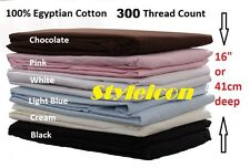 "New 300 Thread Count Egyptian Cotton 16"" or 41 cm extra Deep Fitted Bed Sheets"