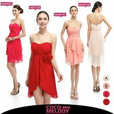 Sweetheart Short Red Pink Bridesmaid Dresses Empire Cocktail Party Gown New 2015