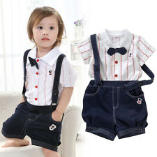 2pcs Baby Boy Top T-shirt+Overalls Bib Pants Shorts Outfit Clothes Bow Tie 0-4 Y