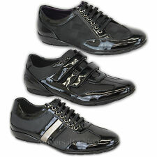 Mens Italian Designer Fashion Shoes Formal Patent Lace Up Velcro Office Work