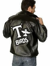 Mens Grease Black Leather Look T-Bird Jacket - Danny T Bird Fancy Dress Costume