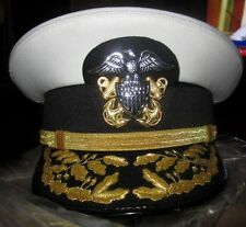 US NAVY COMMANDER ADMIRAL RANK WHITE HAT CAP NEW Size 56, 57, 58, 59, 60, 61