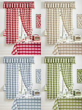 "PAIR OF CHAMONIX GINGHAM CHECK KITCHEN CURTAINS - 3"" TAPE TOP/PENCIL PLEAT"