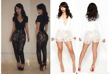 sexy women lace jumpsuit bandage bodycon rompers Beyonce Julia celeb playsuits