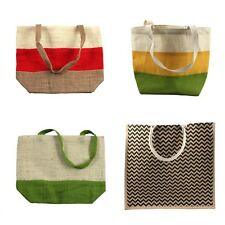 Eco-friendly Jute Burlap Beach Grocery Shopping Tote Bag Purse (Various Styles)