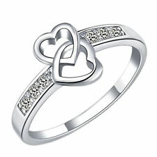 18k White Gold Two Hearts 6 CZ 0.9 Carats Ring Band Teen Women Bridal Birth R249