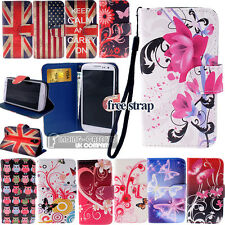 WALLET CARD SLOT PU LEATHER FLIP STAND CASE COVER POUCH FOR iPHONE Samsung+Strap