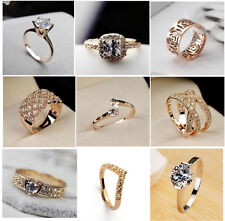 18K Rose Gold Plated Crystal Cocktail Wedding Rings Gifts Brand New size 6/7/8