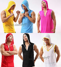 Men Cool Hooded Vest Sports Underwear Smooth&Soft Breath Holes Tank Top With Hat