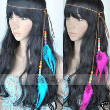 New Women Dance Party Feather Hair Strap Headband Waist Belt Pendant Necklace