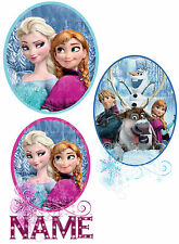 FROZEN DISNEY ELSA ANNA SVEN OLAF IRON ON HEAT TRANSFER PERSONALISED 3 STYLES