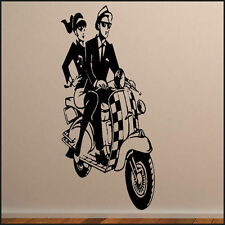 LARGE WALL STICKER SKA SCOOTER  MURAL  ART DECAL NEW VINYL TRANSFER FROM UK