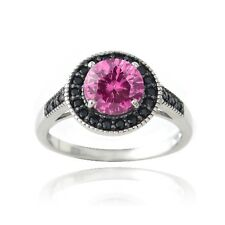 925 Silver 1.6ct Created Pink Sapphire & Black Spinel Round Ring