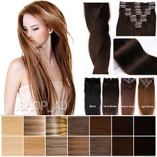CLIP IN REMY 100% HUMAN HAIR EXTENSIONS FULL HEAD COLOR 13 16 18 20 22 24 INCH