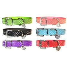Polka Dot Pet Dog Cat Leather Cute Collar Heart Pendant Matching Leash Available