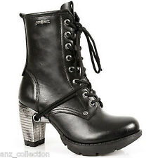 Newrock New Rock TR001 Unisex Ladies Gothic Black Leather Lace Up Ankle Boots