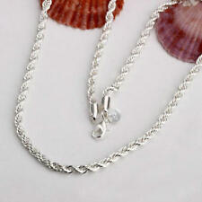 Wholesale New Fashion Sterling1 Solid Silver 3mm Twisted Rope Necklace 16in-24in