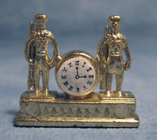 Dolls House Miniature 1/12th Scale Flat Gold Coloured Clock