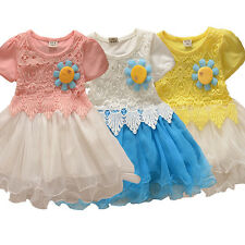 Kids Baby Girls Princess Wedding Shell Dress Party Flower Lace Dresses xmGd