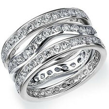WOMENS DIAMOND ETERNITY BAND WEDDING RING ROUND 14KT WHITE GOLD 3-ROWS CHANNEL