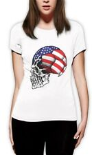 United States Flag World Cup Skull Women T-Shirt USA Football Soccer 4th July