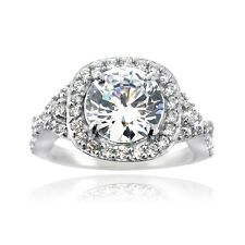 925 Silver CZ Round & Square Halo Twist Band Ring