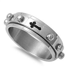silver cross spinner 316 stainless steel rosary mens ring size 9 10 11 12 13 14
