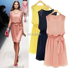 Womens Crew Neck Sleeveless Chiffon Belt Pleated Minidress Beads Vest Dress K0E1