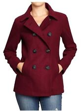 NWT OLD NAVY WOMENS CLASSIC WOOL BLEND PEACOAT PEA COAT JACKET WINE COUNTRY RED