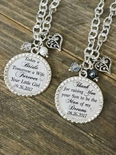 Custom MOTHER of the BRIDE OR Groom Gift - Mom In Law Wedding Necklace in White