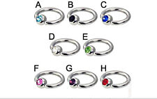 Nipple Ring Captive Bead with Gem CZ 14g Stainless Steel Body Piercing Jewelry