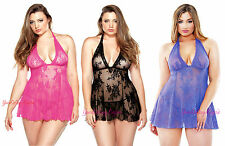 PLUS Size BABYDOLL CHEMISE Halter Stretch LACE Deep V G-STRING See-Thru QUEEN