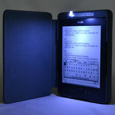 PU Leather Case Cover With Built-in LED Reading Light For Amazon Kindle 4 /5