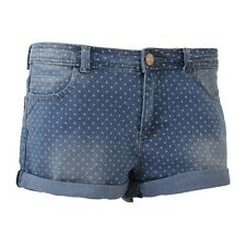 (Free PnP) Brave Soul Ladies/Womens Polka Dot Denim Hot Pants Summer Shorts 8-16
