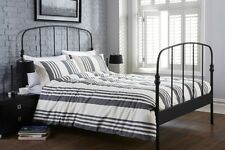 Grey & Cream Stripe Duvet Set WINDHAM 100% Cotton Bedding Charcoal Grey
