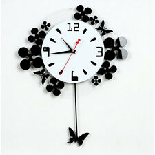 European idyllic pastoral Wall Clock butterfly flower wall clock home Decoration