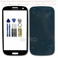 Blue / White / Black Outer Glass Screen Lens For Samsung Galaxy S3 / S4 / Note 2